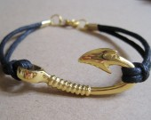 gold fish hook bracelet men