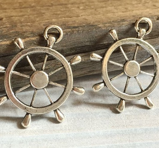 Silver rudder charms