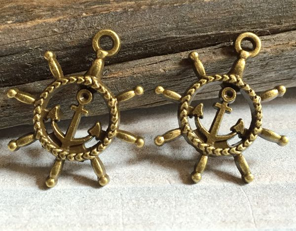bronze rudder anchor charms