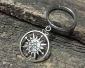 silver compass keychain