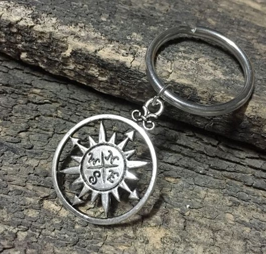 silver compass keychain