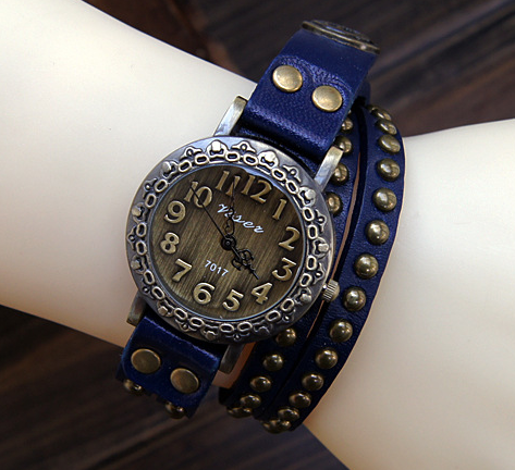 wrap leather bracelet watch