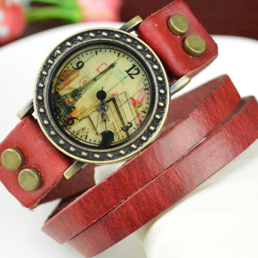 eiffel tower wrap bracelet watch red1