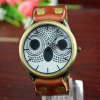 owl charm watch brown