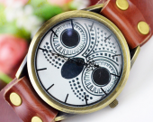 owl charm watch brown color