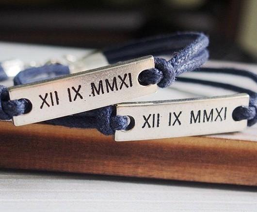 Engraved couples bracelets roman numerals