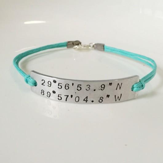 Coordinates bracelet teal band