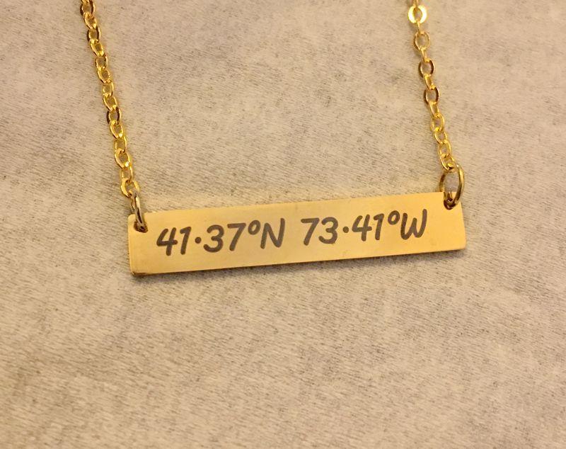 7e2b07fccb366 Custom Coordinates necklace, Coordinates necklace, Personalized ...