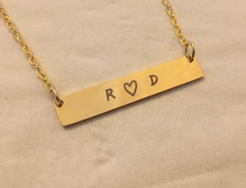 gold bar necklace couples name bar necklace best friends