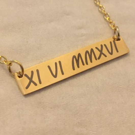 Roman numeral necklace, Anniversary date necklace, Personalized Bar necklace, gold bar necklace, Personalized bar necklace, custom necklace