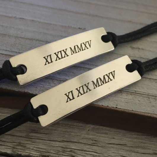 Roman numeral bracelet, couples date bracelet, matching couples bracelet, anniversary gift for him her