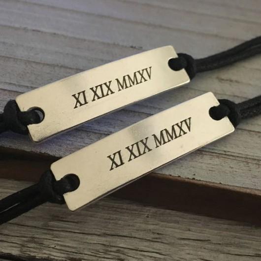 Roman numeral bracelet, couples date bracelet, matching couples bracelet, anniversary gift for him her