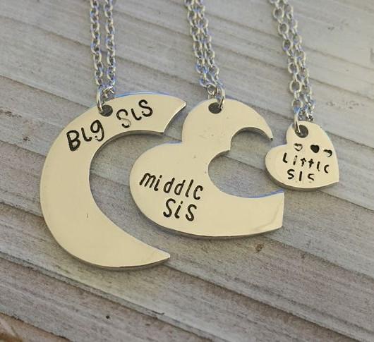 Big sister, middle sister, little sister necklace, 3 sisters necklace, big sis, mid sis, lit sis gift