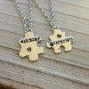 Best Friends necklace, Puzzle piece necklace for best friends, couples set necklace