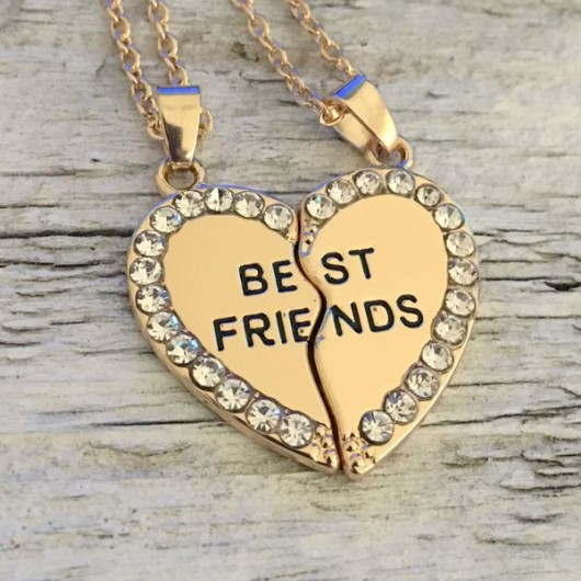 Couples set gift, Gold Broken heart necklace for best friends gift, couples set necklace