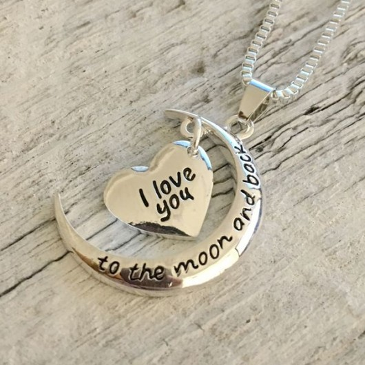 I love you to the moon and back necklace, gift for girlfriend, girlfriend jewelry, girlfriend gift, gift for her