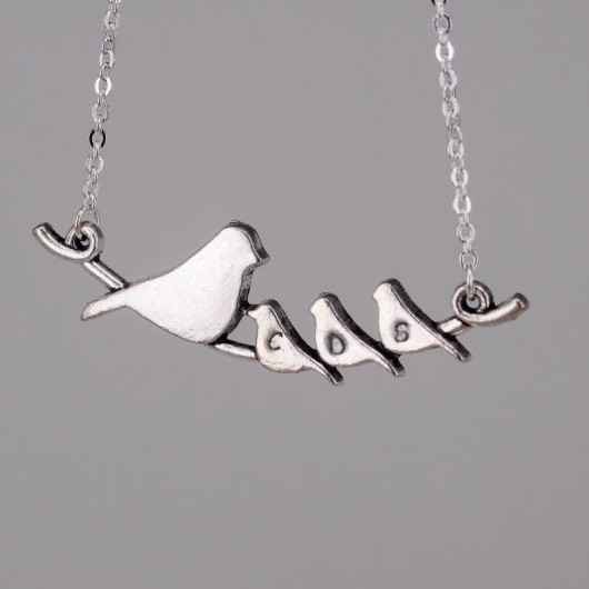 Mommy bird and two babies necklace, bird initial necklace, mommy bird with three babies necklace, personalized necklace for her