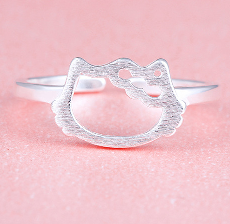 Silver cat ring, cat ring, sterling silver ring, sterling silver cat ring, hello kitty ring, personalized gift for her