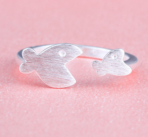 Couples fish ring, silver ring, sterling silver fish ring, big fish small fish ring, girlfriend birthday gift