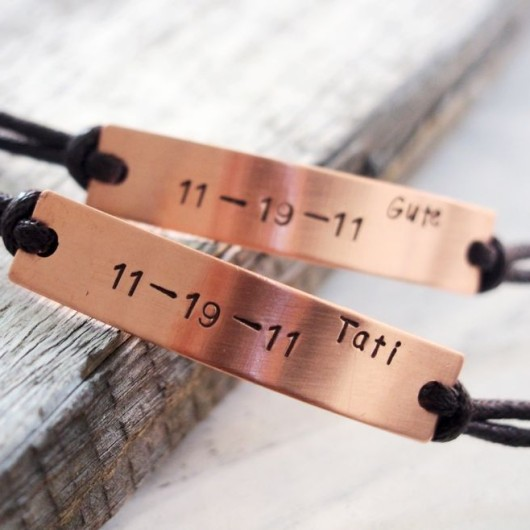 Anniversary date bracelet, couples date bracelet, personalized couples bracelet, gift for couples