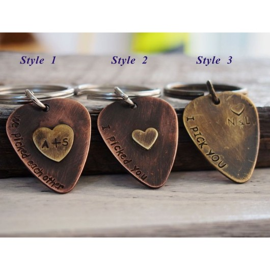 personalized guitar pick keychain necklace