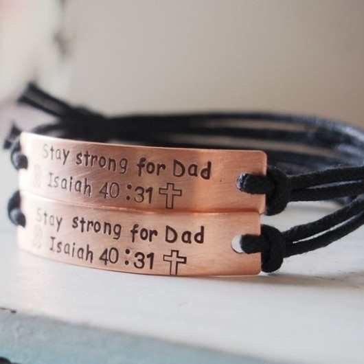 Stay strong for dad Bracelets, personalized hand stamped bracelets for passed away dad for anniversary gift