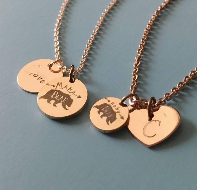 mama bear baby bear necklace
