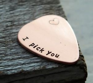 I pick you guitar pick, BEST SELLER on ETSY, Gift for boyfriend, gift for husband, mens gift personalized
