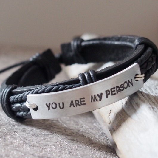 You're my person bracelets, black leather bracelets men, gift for boyfriend, handmade leather bracelets men