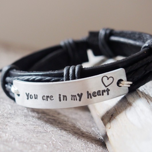 You are in my heart bracelet, black leather bracelet men, quote bracelets, gift for boyfriend, husband gift