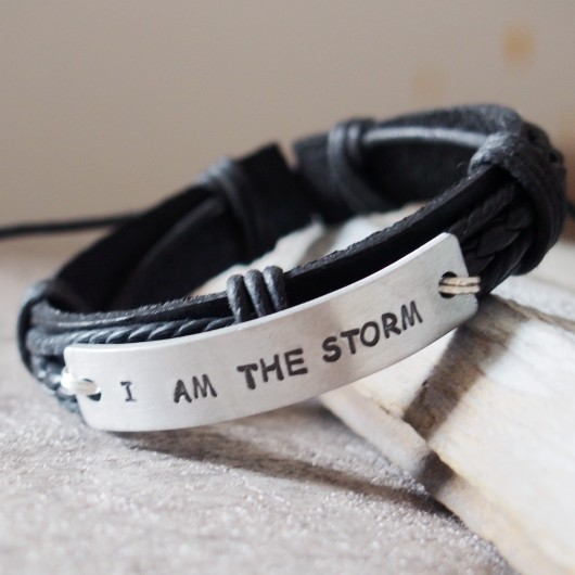 i am the storm quote, i am the storm bracelet, i am the storm jewelry for men, black leather bracelet, silver
