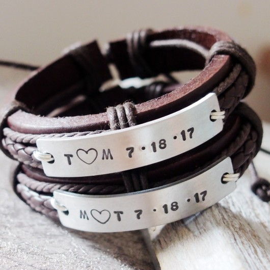 Anniversary bracelets, anniversary date bracelets, anniversary bracelet with date, brown leather bracelets for couples