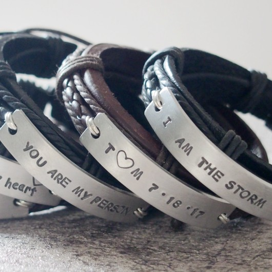 Black leather bracelet, black leather bracelet mens, brown leather bracelet, black leather bracelet with silver
