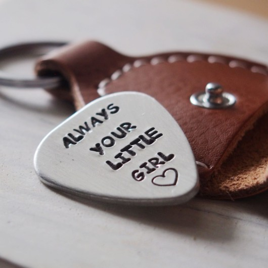 Always your little girl, gift for dad for wedding day, guitar pick with real case, gift for dad from daughter