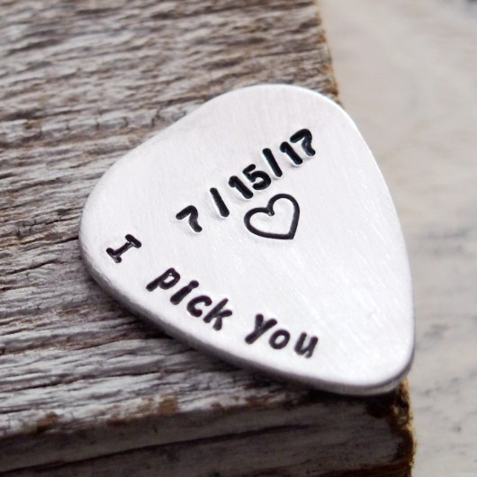 Engraved guitar pick, I pick you guitar pick, anniversary date, anniversary gift for boyfriend