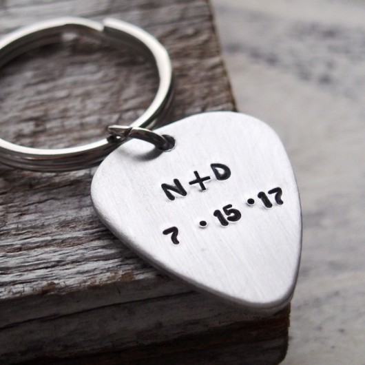 Hand stamped guitar pick key chain, customized guitar pick keyring, couples initials, silver guitar pick, anniversary date gift