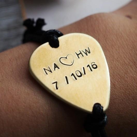 Anniversary gift for boyfriend, music lover gift, anniversary date gift, guitar pick bracelet gold
