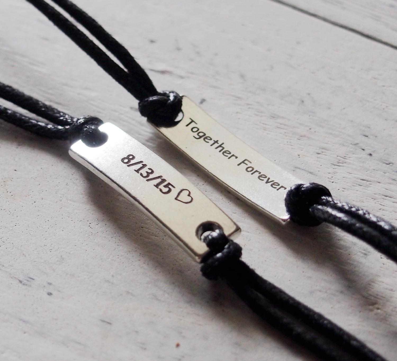 Anniversary Gift For Him Boyfriend Forever Love Backside Engrave Bracelet