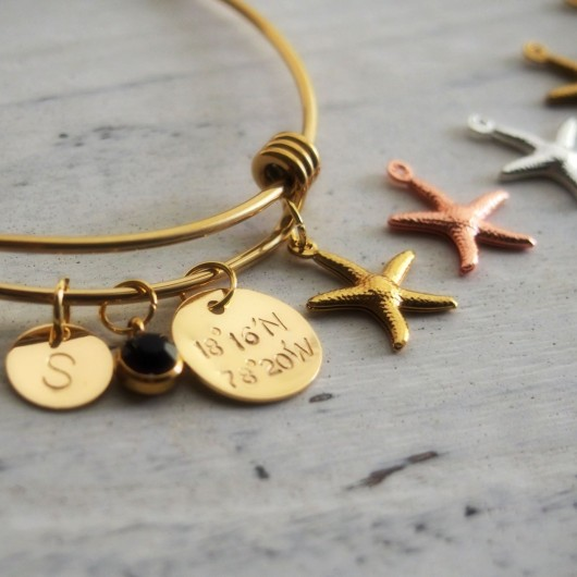 Bridesmaid bracelets in gold, bridesmaid bracelets, gold bridesmaid bracelets, starfish charm, initial charm bracelet