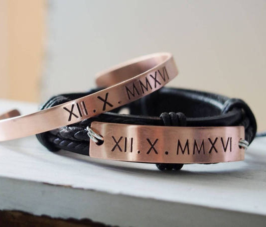 Roman numeral bracelet, ROSE GOLD bracelets for couples roman numerals, engraved roman numeral bracelet, customized bracelets for couples