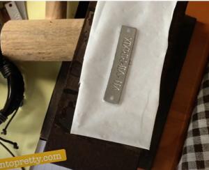 hand stamped metal sheet