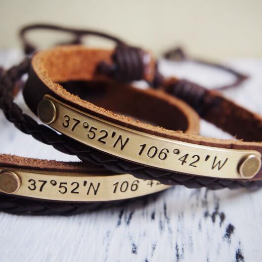 Long distance relationship Bracelets, Custom Coordinates Bracelets