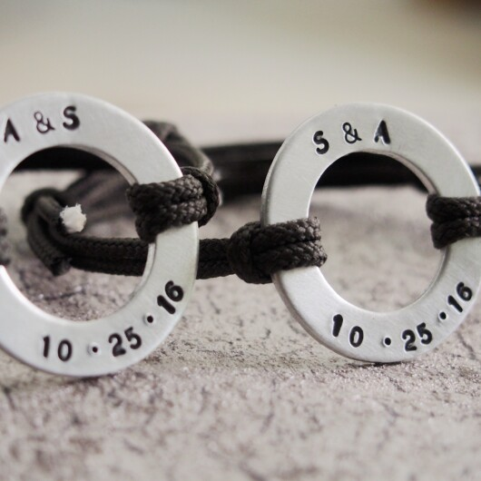 Couples bracelets, Custom Circle Bracelets, personalized rope bracelets, anniversary gift for couples