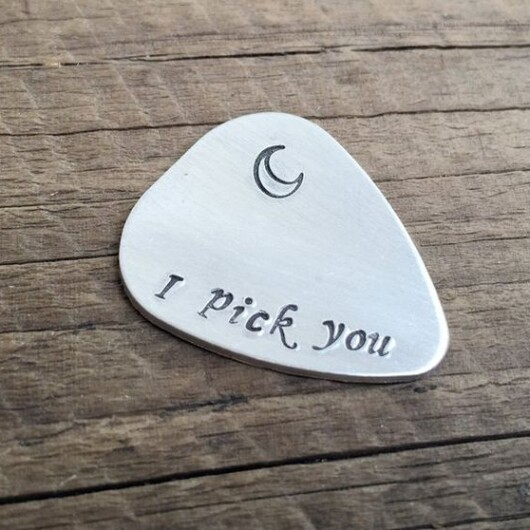 Silver Guitar pick for boyfriend, I pick you, guitar pick with small moon, Mens gifts